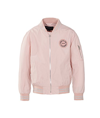 (Rokka&Rolla Girls' Zip Up Lightweight Casual Fashion Wind Flight Bomber Jacket Pink Frost)