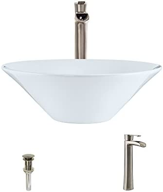 V220-White Porcelain Vessel Sink Brushed Nickel Ensemble with 731 Vessel Faucet Bundle – 3 Items Sink, Faucet, and Pop Up Drain