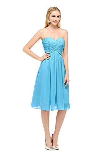 Bbonlinedress Vestido De Noche Sencillo Elegante Corto De Gasa Escote Corazón Azul