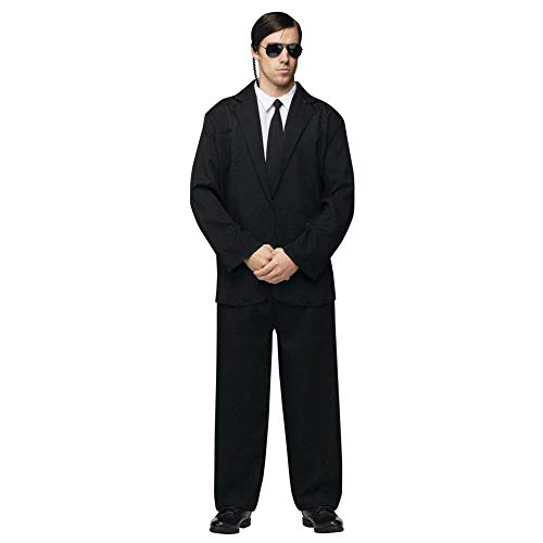 Hitman Halloween Costume (FunWorld Men's Black Suit Complete, Black/White, One Size)