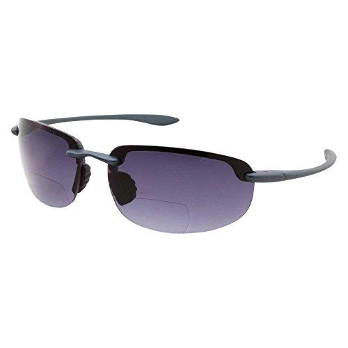 Mens Rimless Bifocal Reading Sunglasses Sports Wrap Reader Glasses, Blue, 1.25