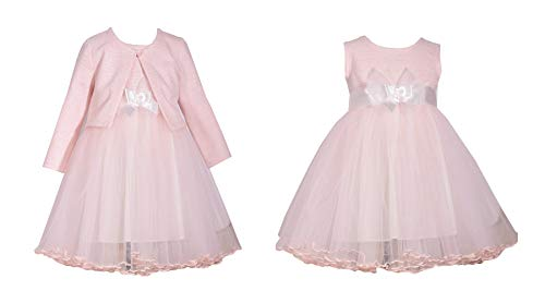 Bonnie Jean Pink Ballerina Sleeveless Dress with Sweater Cardigan for Little Girls (6)