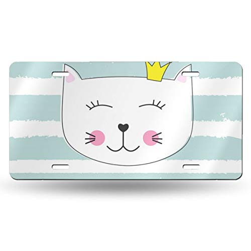 (Poream Cute Cat On White-Green Stripes Personalized Novelty Label Aluminum License Plate Cover Protector for All Standard Cars 6