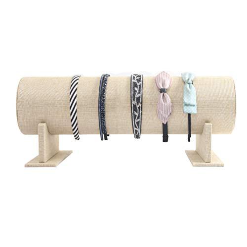 BOCAR Jewelry Headband Hair Clasp Organizer Holder Detachable T-bar Display Stand Rack for Women Girl (19.74.3 inch, Linen)