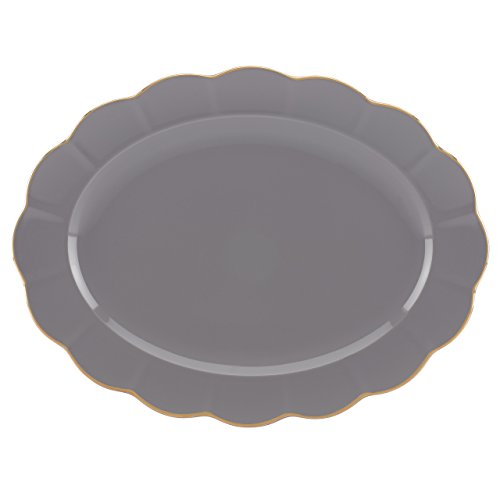 Marchesa Shades of Grey Oval Platter by Lenox