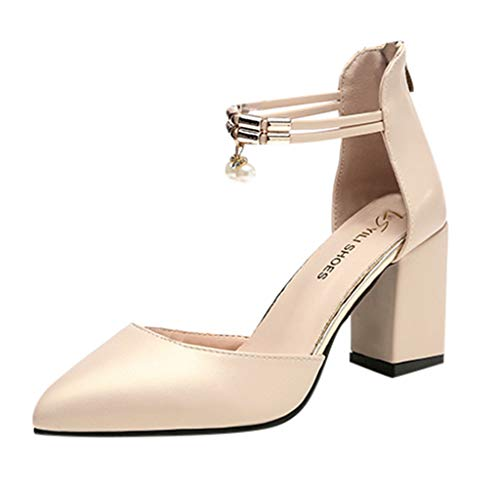 Sunhusing Women's Pointed Toe Thick Heel Zipper Single Shoes Ladies Buckle Strap Sandals Gold -