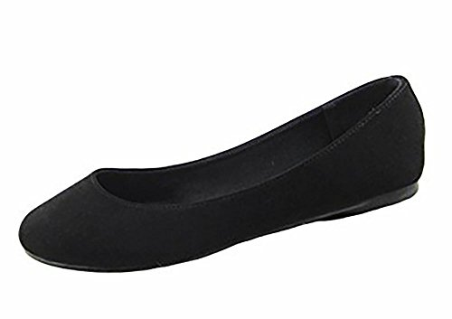 Bella Marie Angie-53 Women's Classic Pointy Toe Ballet Slip On Suede Flats, MVE Shoes Kreme Black NB 6.5 (Best Las Vegas Hookers)