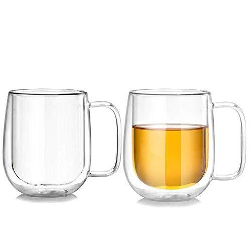 Lhx Double Wall Clear Coffee Mug 10 oz High Boron Silicon Glass Insulated Tea Mug (Set of 2)
