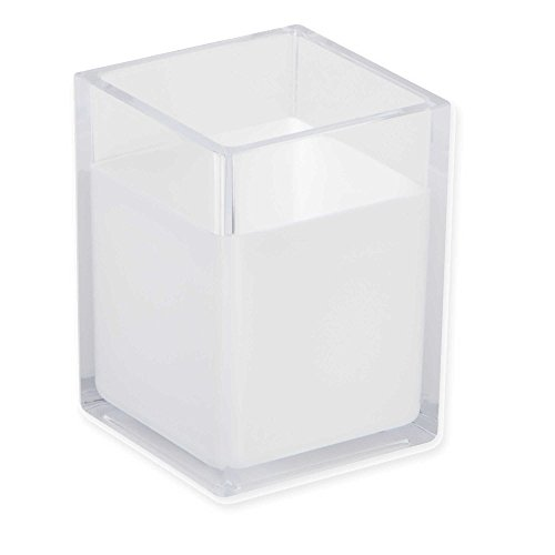 HomeCrate Modern Desk Organizer Pencil Cup, Set of 4 - Clear/White (Cup White Modern)