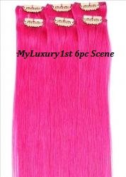 My Scene 6 Piece Clip in Hair Extensions Pink Clip-on Hairstyle Streaks