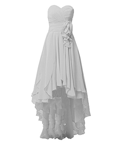 Veils Wedding Discount (Cdress Women's High Low Sweetheart Bridesmaid Dresses Chiffon Hi-Lo Wedding Prom Evening Gowns Silver US 16W)