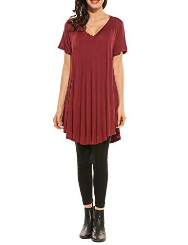 HOTOUCH - Camiseta - Manga corta - para mujer rojo vino