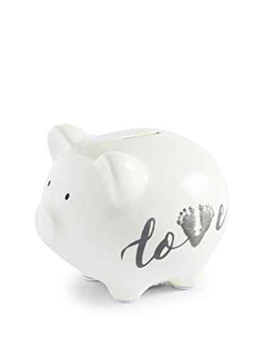 Mud Pie March of Dimes Love Piggy Bank with Footprint Icon,White,5