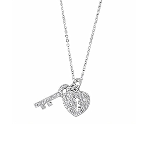 Best deals on heart lock pendant tiffany products 18mm key heart lock cz pendant necklace sterling silver adjustable 16inch with 1inch extension aloadofball Choice Image