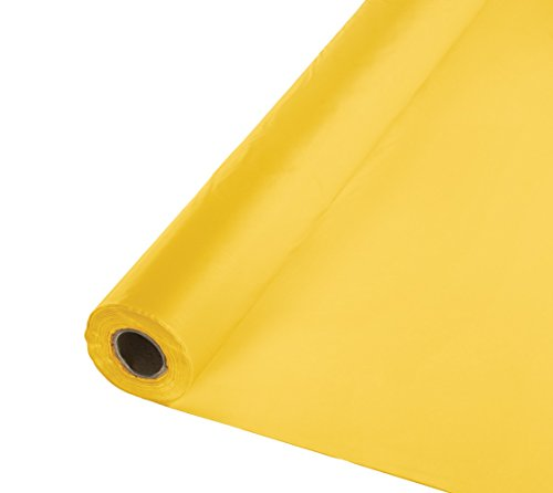 Creative Converting Touch of Color Banquet Roll Plastic Table Cover, 100-Feet, School Bus Yellow - 763269B