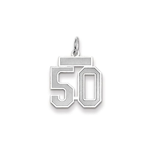 (14k WG Small Satin Number 50 Charm)