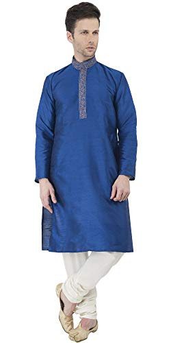 Indian Kurta Pajama Handmade Long Sleeve Button Down Men Christmas Dress Shirt and Traditional Blue Anniversary Party Wear-L