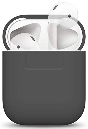 elago Silicone Case Designed for Apple AirPods Case Cover for AirPods 1 & 2 - Extra Protection, Front LED Not Visible, Supports Wireless Charging (Dark Grey)