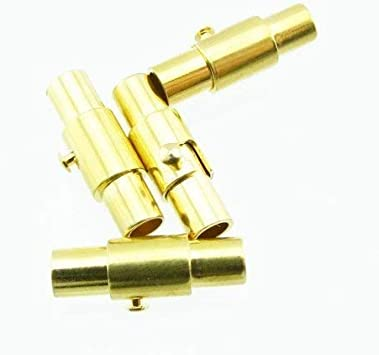 als Dreh Sicherheits-Verschluss f/ür Ketten und Armb/änder Bacabella 11202 Magnet Bajonettverschluss f/ür 3mm Band Gold 5 St/ück