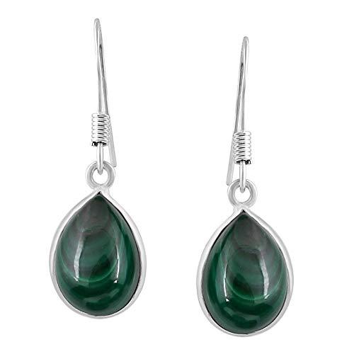 - Malachite Tear Drop Dangle Earrings 925 Silver Plated Handmade Jewelry For Women Girls