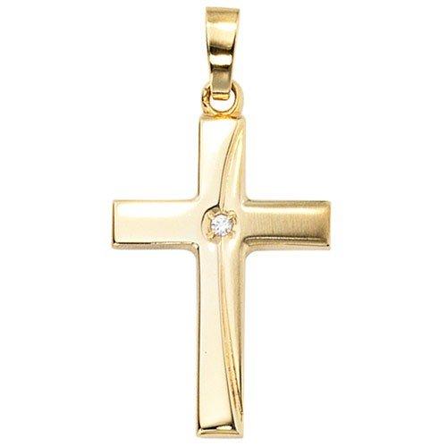 Pendentif en forme de croix serti d'oxydes de zirconium en or jaune 333 dépoli goldkreuz pour femme