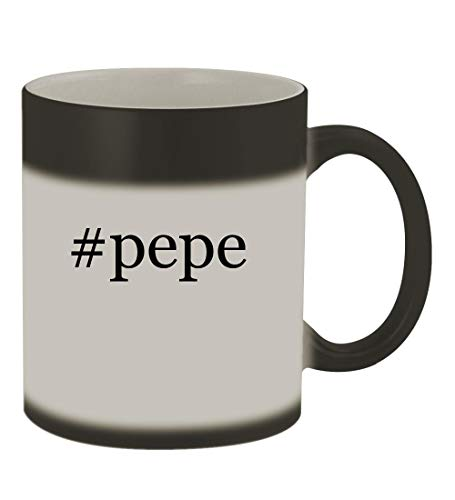 #pepe - 11oz Color Changing Hashtag Sturdy Ceramic Coffee Cup Mug, Matte Black ()