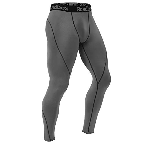 (Roadbox Men's Compression Pants Workout Dry Cool Sports Leggings Tights Baselayer for Running Grey)
