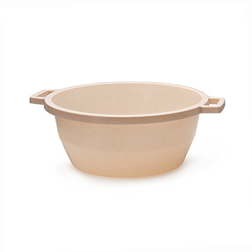 Ybmhome YBM HOME Round Plastic Wash Basin Dish Pan, Laundry Pan, Cleaning Pail, Beige with Dots 1287 (1) by Ybmhome