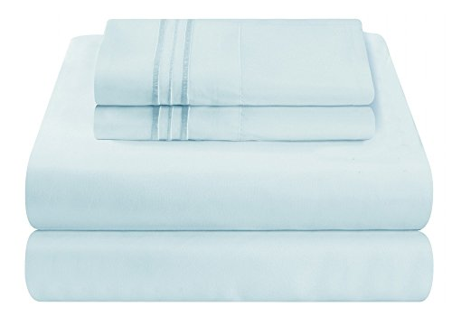 Mezzati Luxury Bed Sheet Set   Soft And Comfortable 1800 Prestige Collection   Brushed Microfiber Bedding  Light Blue  Cal King Size