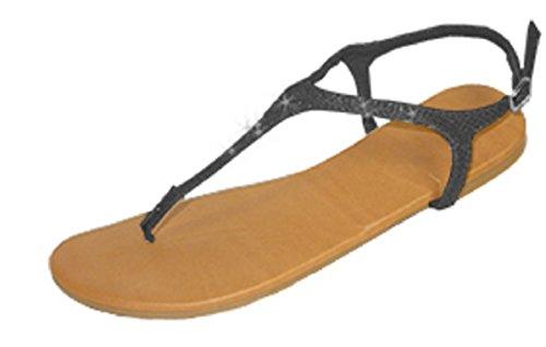 Shoes 18 Womens Animal Print T Strap Roman Gladiator Sandals Flats 5 Colors (6418 9/10, Black)