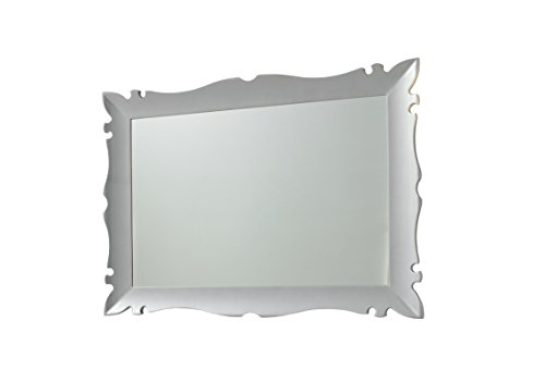 Versalles Wall Framed Mirror 43-inch Wide, Glossy Silver, Rectangular, Make Up, Wall Mounted, Made in Spain (European Brand) by Hispania bath