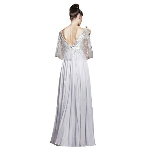 Weiß Mantel Perlen Applikationen Ausschnitt bodenlangen GEORGE Abendkleid BRIDE V mit Chiffon Spalte fqwnBAHx4
