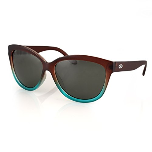 13Fifty Miami Women's Sunglasses, Cat Eye Glasses Brown & Green Fashion Frame, Green Gray Polarized - Sunnies Polarized