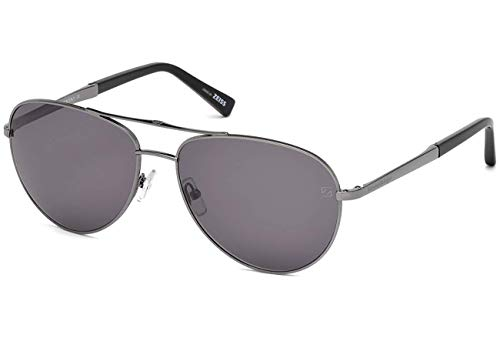 (Ermenegildo Zegna EZ0035 - 12A Sunglasses shiny dark ruthenium frame w/ Grey Lens 61mm )