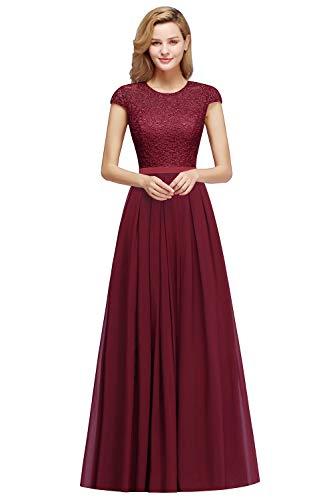 MisShow Women Long Lace Applique Bridesmaid Dress for Wedding Guest Burgundy Size14