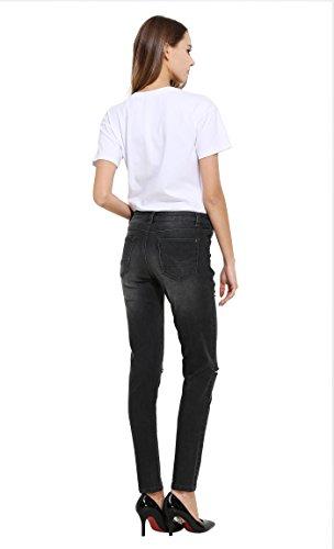 Grigio Denim Donna Stretch Distressed Distrutti Pantaloni Jeans ZLZ RpT44