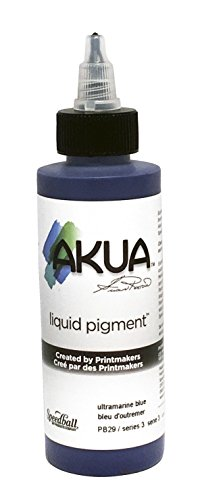 Akua Kolor Non-Toxic Water Based Monotype Ink, 4 oz Bottle, Ultramarine Blue