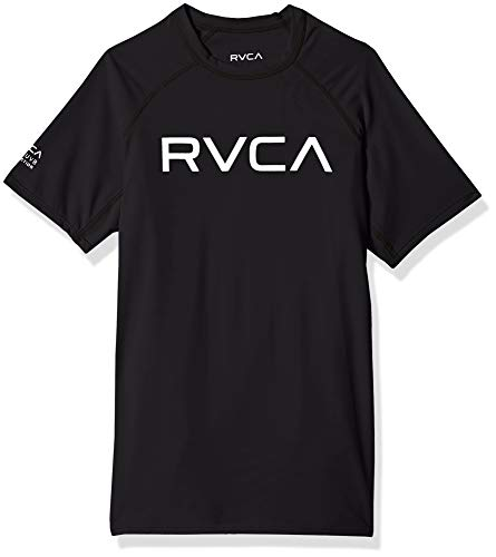 RVCA Big Boys' Short Sleeve Rashguard, Black/White, XL