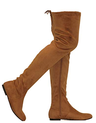 MVE Shoes Womens Fashionable Flat Over The Knee Boots - Comfortable Suede Adjustable Boots, Camel Suede 6 ()
