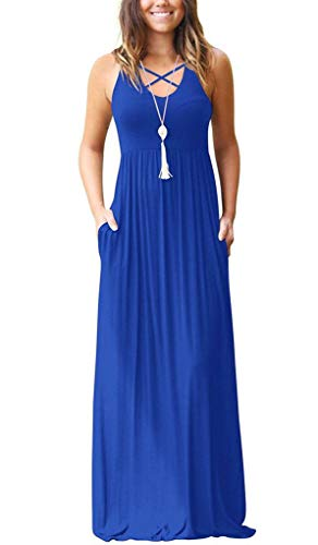 EZBELLE Women's Sleeveless Racerback Maxi Dresses with Pockets Plain Loose High Waisted Long Dresses Royal Blue Medium