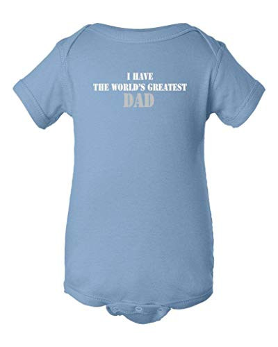 So Relative! I Have The World's Greatest Dad (Grey & White Stencil Print) Baby Bodysuit (Light Blue, Newborn)