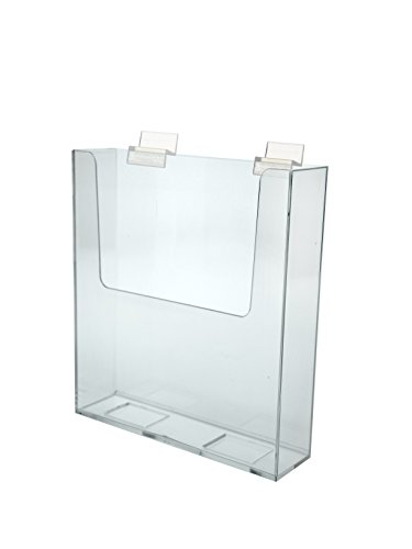 Marketing Holders Brochure Holder Slatwall Clear Acrylic Display for 7.5'' Literature Lots of 10 by Marketing Holders