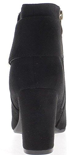 Noires à Métal 8cm et Bottines Gros Boucle de Femme Talon Look Daim gycyPH5RW1