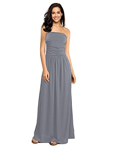 GloryStar Womens Strapless Ruched Casual Party Maxi Dress With Pocket (L, Dark Grey)