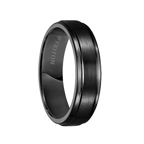 Triton Ring Black Tungsten Carbide Satin Finish Flat Center with Bright Step Edge Comfort Fit Band ()