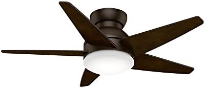 Casablanca Indoor Low Profile Ceiling Fan with LED Light and wall control – Isotope 44 inch, Cocoa, 59352