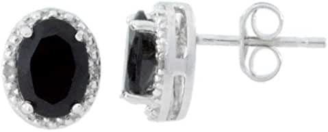2 Ct Genuine Black Onyx & Diamond Oval Stud Earrings 14Kt White Gold & Sterling Silver