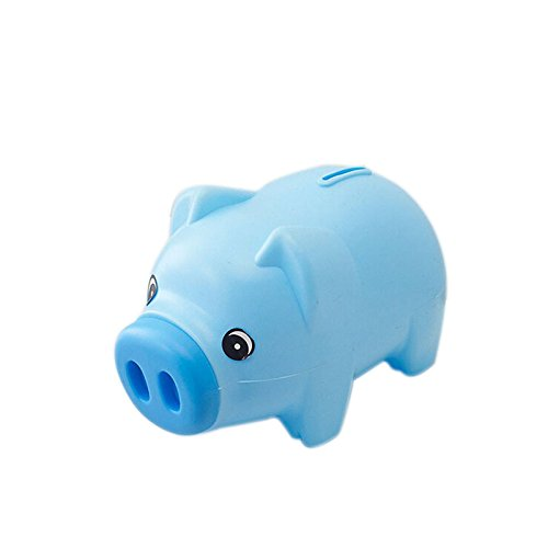 Cute Pig Money Box Piggy Bank for Kid's Birthday Gift,Blue-Develop a Good Habbit of Saving Money