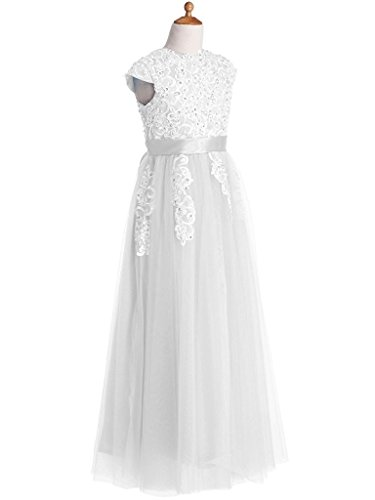 Kissangel Long White Flower Girl Dresses Lace Ivory First Communion Dress Online (8, -
