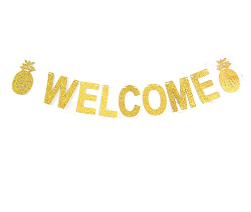 GZFY Welcome Banner Pineapple Bunting Wedding birthday decor House home Decorations Garland photo Booth Props Bachelorette Party Supplies (Gold)]()